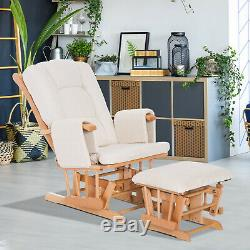 2 PCs Wood Glider Recliner Rocking Baby Nursery Chair With Cushions Ottoman Set