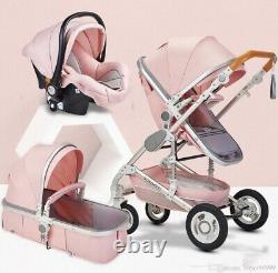 3-1 Baby Stroller, Carseat, And Bassinet. Newborn Pink
