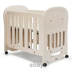 3-in-1 Baby Bed Crib Adjustment Multifunctional Toddler Crib With 2 Soft Mattress