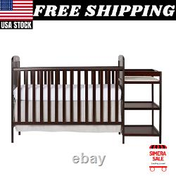 4-In-1 Baby Convertible Crib & Changer Table Combo Furniture Full Size, Cherry