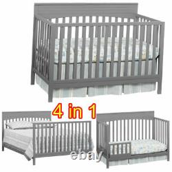 4 In 1 Convertible Crib Best Toddler Baby Bed Bassinet Full Size Nursery Bedroom