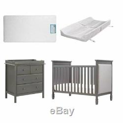 4 Piece Nursery Furniture Set with Crib and Changer in Gray