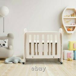 4 in 1 Baby Crib Bed Convertible Nursery Portable Toddler Furniture w Mattress