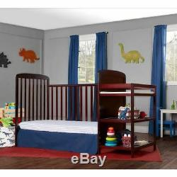 4-in-1 Baby Crib and Changing Table Combo Furniture Full Size Cherry