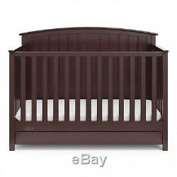 4-in-1 Espresso Convertible Crib With Drawer Unisex Home Nursery Furniture