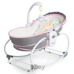 5 in 1 Portable Baby Rocking Bassinet Multi-Functional Crib with Adjustable Canopy