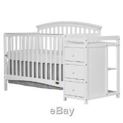 5 in 1 Side Convertible Crib Changer Baby Toddler Bed White + Mattress + Pad