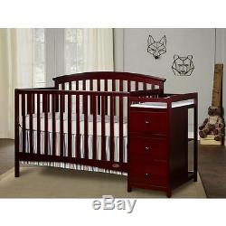 5 in 1 Side Convertible Crib Changer Nursery Furniture Baby Toddler Bed Cherry