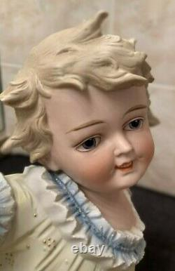 Antique German Conta Boehme Porcelain Bisque Piano BabyDoll Figurine withButterfly