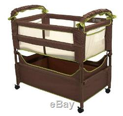 Arm's Reach Clear-Vue Baby Co-Sleeper Bedside Bassinet Cocoa Fern NEW