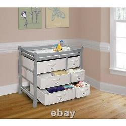 Baby Changing Table Sleigh Style Six Drawers Baskets Station Dresser Storage Boy
