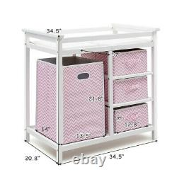Baby Changing Table With Drawer Dresser Basket Set Changing Pad Infant Nursery