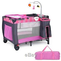 Baby Cot Travel Crib Infant Folding Playpen With Toys Pink Portable Bed Changer
