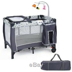 Baby Cot Travel Folding Crib Infant Playpen With Toys Kids Portable Bed Changer