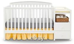 Baby Crib 4 In 1 Convertible Baby Bed Toddler Adjustable Nursery New Wood