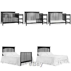Baby Crib Convertible Cribs With Changing Table Wood Toddler Bed Daybed Black