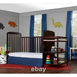 Baby Crib With Mattress 4-in-1 Full Size Changing Table Combo Furniture New