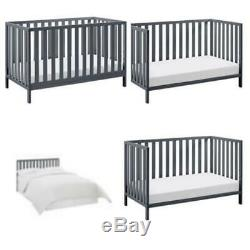 Baby Crib to Toddler Bed 4 in 1 Convertible Gray Child Sleeper Daybed Wood