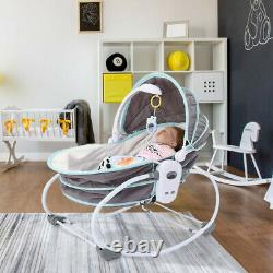 Baby Portable 5 in 1 Rocking Bassinet Multi-Functional Crib with Canopy Music Toys