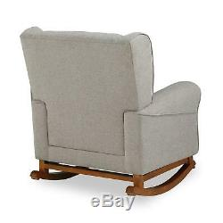 Baby Relax April Tufted Wingback Rocker Chair, Nursery Furniture, Gray