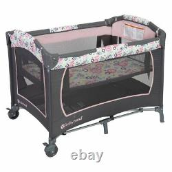 Baby Trend Lil Snooze Deluxe Nursery Center Playard Play Crib with Bassinet, Flora