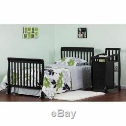 Black Mini Size Convertible 4-in-1 Crib Bed Baby Toddler Nursery Changer Side