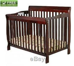 CONVERTIBLE BABY BED 5-in-1 FULL SIZE CRIB CHERRY NURSERY BEDROOM FURNITURE NEW