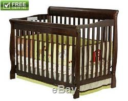 CONVERTIBLE BABY BED 5-in-1 FULL SIZE CRIB ESPRESSO NURSERY BEDROOM FURNITURE