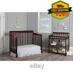 CONVERTIBLE BABY ESPRESSO BED 5-in-1 FULL SIZE CRIB NURSERY BEDROOM FURNITURE