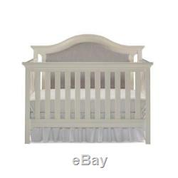 Catania 4-in-1 Convertible Upholstered Baby Crib in Snow White