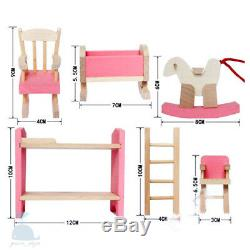 Class Pink Wooden Furniture Dolls House Baby Nursery Set Miniature No Dolls