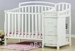 Convertible Baby Bed 3 In 1 Mini Crib White Dressing Table Nursery Bedroom New