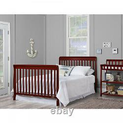 Convertible Baby Bed 5 in1 Full Size Crib Nursery Bedroom Furniture Cherry