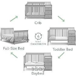 Convertible Baby Crib 4-in-1 Convertible Crib & Changer Combo 3 Clothes Drawers