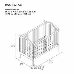 Convertible Baby Crib to Daybed Nursery Sleeping 2-in-1 Bed Modern Sturdy Wood