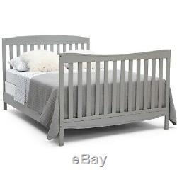 Convertible Crib Baby Toddler Nursery bed furniture Table Changer drawer Gray
