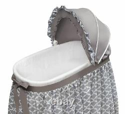 Convertible Oval Baby Bassinet Cradle Rocker Adjustable Canopy Locking Casters