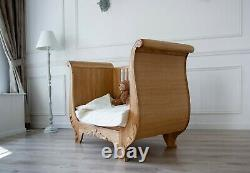 Cot Bed, Solid Oak Wood, Nursery furniture, Luxury furniture, Safety certified