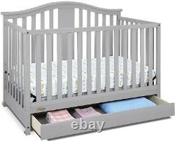 Crib Convertible Baby Bed 4 In 1 Toddler Nursery Wood New Gray Furniture Drawer