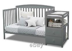 Delta Children Royal 4-in-1 Convertible Baby Crib and Changer, Grey