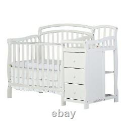 Dream On Me Casco 4-in-1 Mini Crib and Dressing Table Combo, White