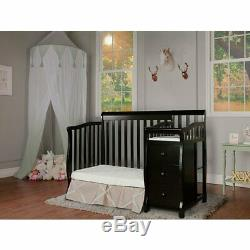 Dream On Me Jayden 4-in-1 Convertible Mini Crib and Changer in Black