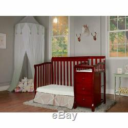 Dream On Me Jayden 4-in-1 Convertible Mini Crib and Changer in Cherry