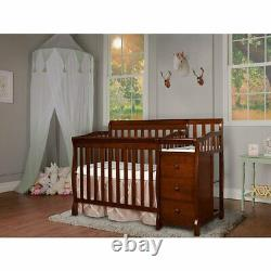 Dream On Me Jayden 4-in-1 Convertible Mini Crib and Changer in Espresso