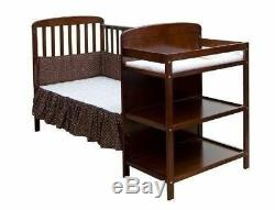 Espresso Full Size Convertible 2-in-1 Crib Bed Baby Toddler Nursery Fixed-Side