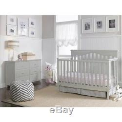 Fisher-Price Ayden 4-in-1 Fixed-Side Convertible Crib, Misty Grey
