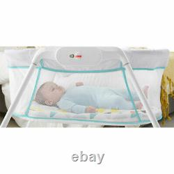 Fisher Price Portable Vibrating Stow'n Go Baby Bassinet with Storage Bag, White