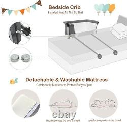 Folding Portable Baby Bed Side Sleeper Infant Travel Bassinet Crib With Bag Grey