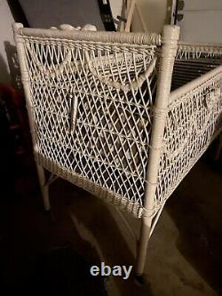 French Barbola Roses Baby White Vgt Carriage Bed Wicker Victorian Shabby Chic