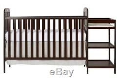 Full Size Crib Changer Cherry Convertible Baby Bed Toddler Kid Nursery Bedroom